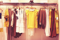 July Sixth. (redaleka) Tags: summer brown white yellow shop wall mall shopping living store spring pants steel style clothes collection shirts dresses passion shops trousers hanging tshirts cloth brand hang jackets shopaholic zara skirts hangers spending blouses materialistic julysixth