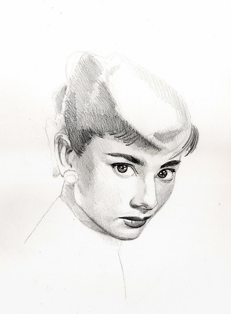 pencil drawing  Audrey Herpburn 2