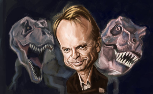 digital caricature of Sam Neill - 4