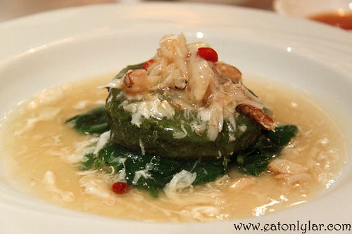 Steamed home-made spinach bean curd with Chinese wine topped with fresh crab meat, Lai Ching Yuen