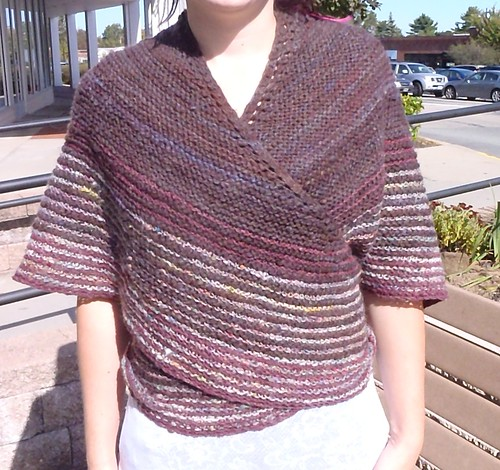 Modeled Danish Tie Shawl - front