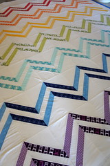 Basting the Zig Zag Quilt (Cut To Pieces) Tags: rainbow quilt stripe fabric basting quiltalong zigzagquilt azigandazag