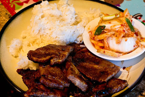 Kalbi ribs, rice and homemade kim-chi.