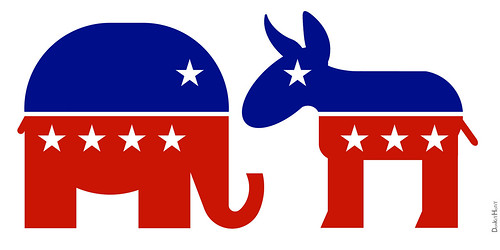 Republican Elephant & Democratic Donkey by DonkeyHotey, on Flickr