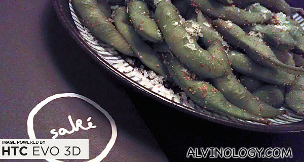Lightly sea-salted spicy edamame peas for a start