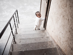 China's next top model (imsuri) Tags: boy baby four lumix stair child g panasonic micro 20mm 365 thirds 293 day293 f17 m43 gf1 project365