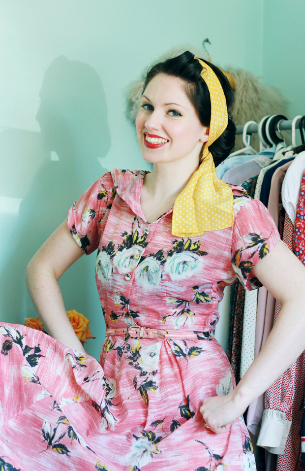40s pink dress windy d