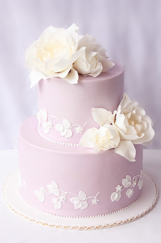 Lilac Roses And Butterfly Wedding Cakes