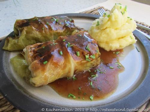 Vegetarische Kohlroulade mit Kartoffel-Püree 002