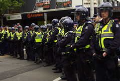 Occupy Melbourne: thin blue line (rubydoomsday) Tags: street wall hippies riot student protest police melbourne we civil 99 mounted cbd friday disobedience collins protests brutality trg bourke swat feral swanston occupation 2110 ows occupy