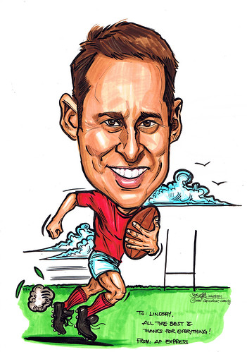 Rugby player caricature for APEM Express
