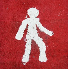 Badly painted boy (Tony Worrall) Tags: road uk red urban white man sign scotland photo image dundee angus walk painted north stock scottish tay figure tayside ©2011tonyworrall