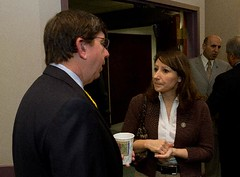 State Rep. Rosa C. Rebimbas talks with Steven Fournier, President and CEO of Gar Kenyon Aerospace and Defense, during a business roundtable at the greater Waterbury Chamber of Commerce on Wednesday, October 5, 2011.