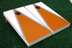 Orange & White Matching Triangle Cornhole Boards