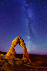 """Delicate Arch and Milky Way stars (IronRodArt - Royce Bair (""""Star Shooter"""")) Tags: park sky lightpainting southwest monument nature rock night dark way stars evening utah twilight sandstone shiny long exposure heaven glow arch shine nightscape time dusk infinity space deep arches twinkle landmark astro sparkle galaxy national astrophotography astronomy delicate archesnationalpark universe exploration milky cosmic starry cosmos constellation delicatearch distant milkyway starlight wondersofnature starrynightsky"""