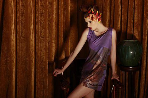 knit dress - sleeveless sublimation print jersey dress P1695