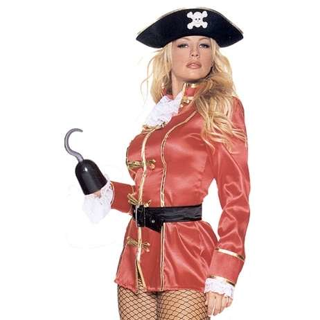 Blond woman in a pirate Halloween costume