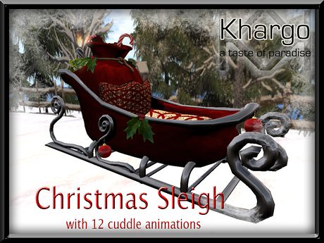 CHRISTMAS SLEIGH WITH 12 MENU DRIVEN CUDDLE ANIMATIONS, 495 lindens by Cherokeeh Asteria
