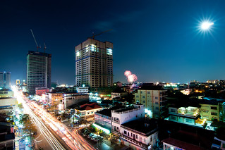 Monivong Blvd. under a full moom