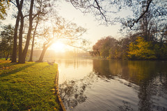 1000 (Philipp Klinger Photography) Tags: park blue autumn light sunset shadow red sky espaa orange sun color colour reflection tree green bird fall nature water colors grass animal yellow reflections germany bench landscape deutschland duck leaf am pond nikon europa europe colours hessen frankfurt main sigma bank goose foliage leafs blast autumnal frankfurtammain stadtpark hesse hchst sigma1020mm hchster d5100 hchsterstadtpark