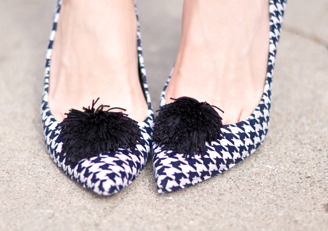 Houndstooth heels  with  tassel  poufs-diy houndstooth shoes