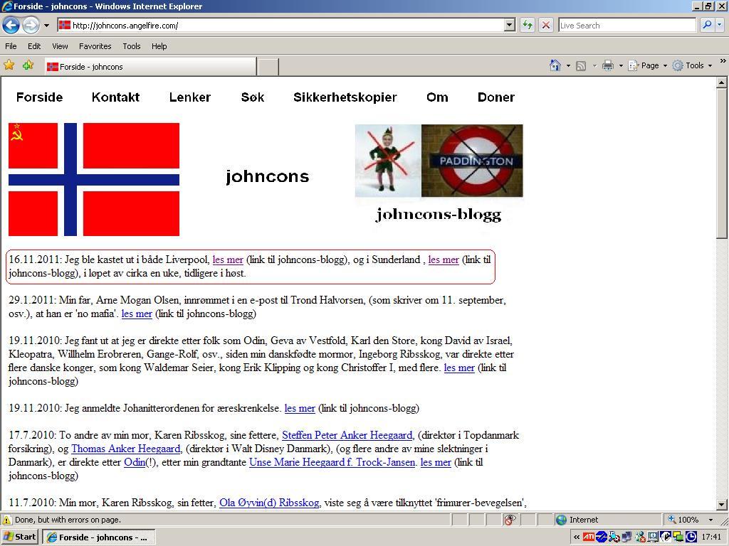 oppdaterte johncons web om utkastelser