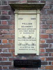 Photo of William Beamont white plaque