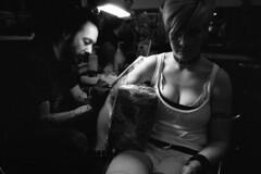 Rotterdam: Tattoo Convention (SuperErnie) Tags: tattoo nikonf3 kodakp3200tmz benjaminmoss nikkor24mmf20 tabrettbethell apocalypstattoo