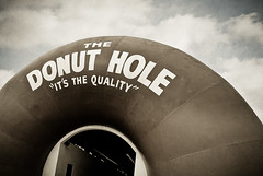 The Donut Hole drive-thru (Shakes The Clown) Tags: california old food brown signs vintage typography fastfood landmark architectural retro bakery donuts drivethru signage font 1968 signlanguage lapuente donuthole canon5dmarkii
