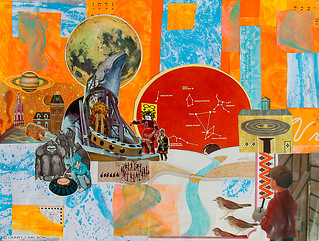 LARRY CARLSON, In Wind and Storm -The Only Ones Still Alive, collage and acrylic paint on paper, 20x26in., 2012.