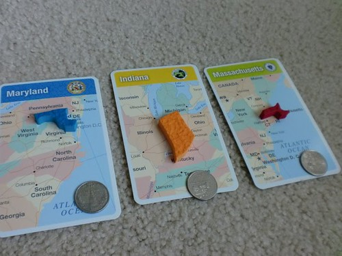 Matching States and State Quarters (Photo by Julie at The Adventures of Bear)
