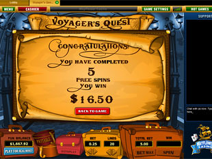 free Voyager's Quest slot game free spins