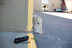The Lonely Shoe (jtait_CDN) Tags: street city canada shoe alley flickr downtown day edmonton outdoor decay cement alberta photowalking