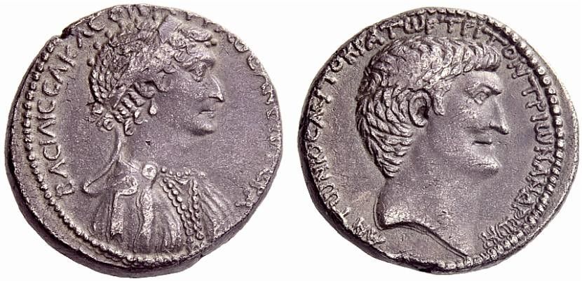 A Rare, Exceptional, and Important Roman Provincial Silver Tetradrachm of Mark Antony and Cleopatra VII, Among the Finest Known of this Prestigious Issue