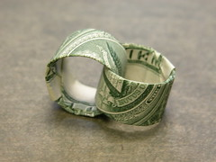 Dollar bill two interlocking rings aka For Richer or For Poorer (FJ Contreras) Tags: money love bill origami valentine ring rings dollar folding orikane