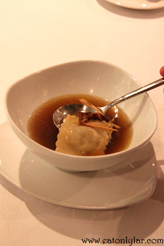 Light Smoked Duck Essence with Ginseng Root and Raviolini, Samplings on the Fourteen