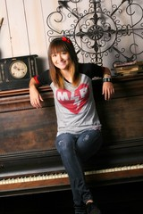 Piano chick. (unhearted-demon) Tags: old school red musician black cute senior girl beautiful smile vintage happy photo high eyes heart emotion expression emo piano adorable happiness scene tiny bow teenager expressive vans bracelets brunette merch relaxed emotive maydayparade