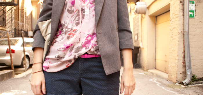 dashdotdotty, outfit blog, how to wear, shorts, blazer, desert boots, fall style, layers, magenta belt