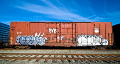 Bobkat, Civ (TheHarshTruthOfTheCameraEye) Tags: california train graffiti three fuck famous letters law northern freight civ ftl benching bobkat bkat