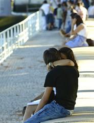 The Kiss (pedrosimoes7) Tags: portugal kiss couple peace beijo lisbon candid snapshot happycouple tenderness stphotographia parquedasnacoes