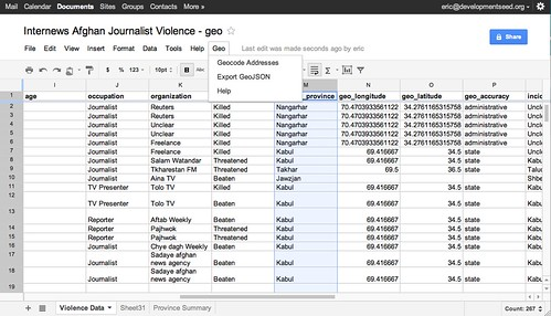 Mapping A Google Doc Spreadsheet Points Of Interest - Data mapping document examples