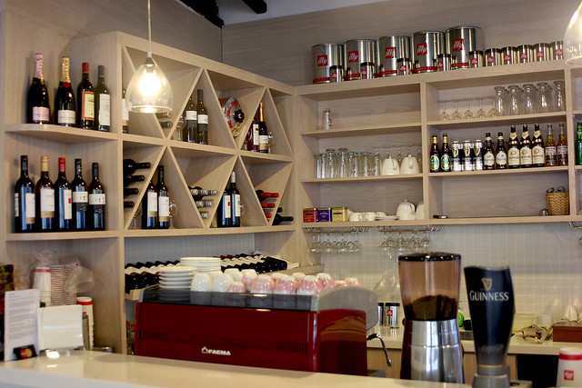 There are wines and beers available as well as coffee, tea and juices