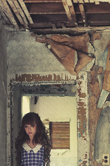 (yyellowbird) Tags: wallpaper house selfportrait abandoned girl peeling cari noarms