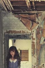 (yyellowbird) Tags: wallpaper house selfportrait abandoned girl peeling cari noarms