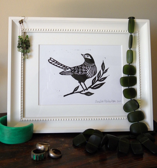 Linocut of bird