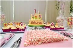 Flower Dessert Table (Klaire with a Cake) Tags: birthday pink flower yellow cake table dessert dinosaur little pop pops tlc cupcakery brontesaurus klairescupcakes