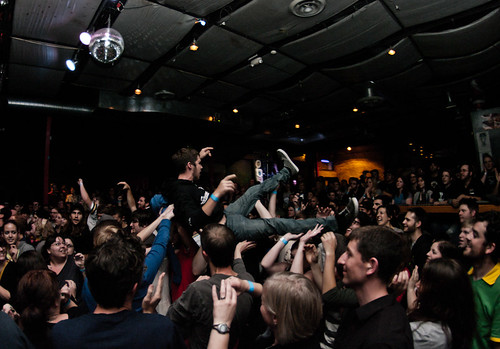 Crowd surfer during Frank Turner's set
