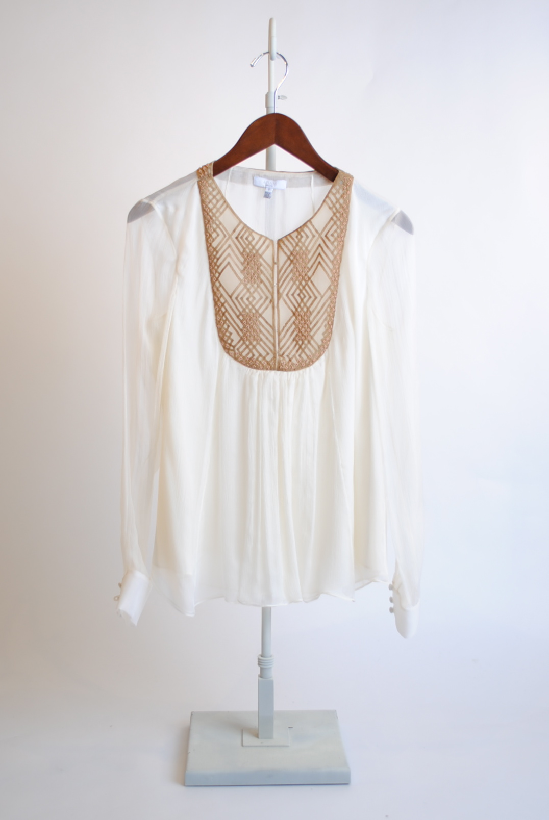 Embroidered Bib-Front Top