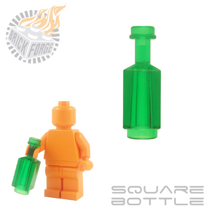 Square Bottle - Trans Green