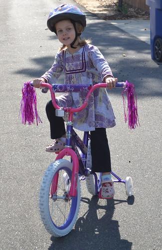 Maddie on her new bike